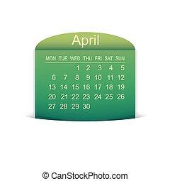 Calendar April 2015. Vector illustration. Design element.