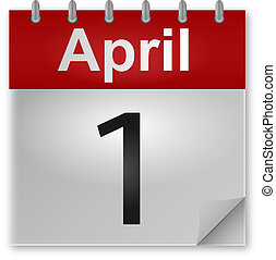 A calendar showing the the date of the first day of april