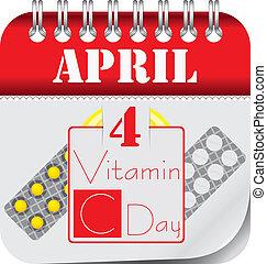 Calendar april Vitamin C Day - Calendar with perforation for...