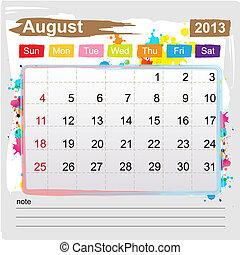 Calendar August 2013 , Abstract art style