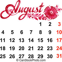 Calendar August 2014 - Calendar, August 2014, hand drawn, in...