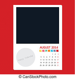 Calendar August 2014, Photo frame background