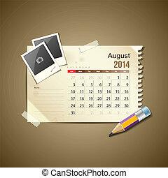 Calendar August 2014, vintage paper note, vector...