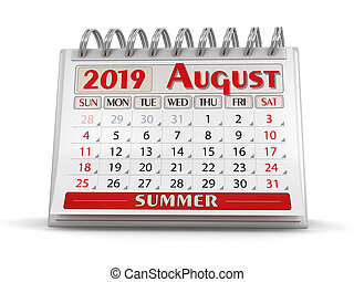 Calendar - August 2019 (clipping path included)