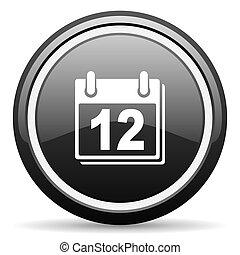 calendar black circle glossy web icon