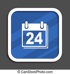 Calendar blue flat design square web icon