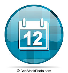 calendar blue round modern design internet icon on white background
