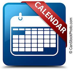 Calendar blue square button red ribbon in corner