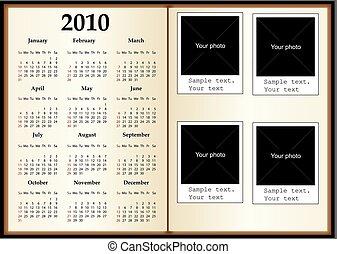 Calendar book. Book for photos. Template