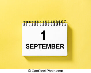 Calendar book date yellow background 1 September