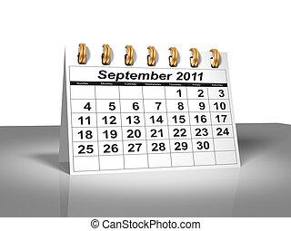 calendar., bureau, septembre, 2011.