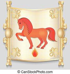 calendar., cavallo, immagine, rosso, orientale