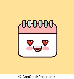 calendar character kawaii style