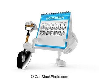 Calendar character with shovel