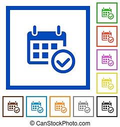 Calendar check framed flat icons