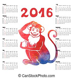 Calendar .Chinese zodiac monkey.Watercolor