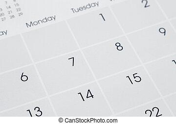 Calendar - Closeup of numbers on calendar page