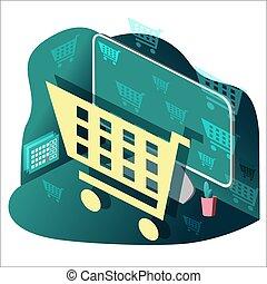calendar., computer, internet, desktop, indkøb, cart., tabel, store., online