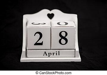 Calendar cubes April, twenty-eighth, 28, 28th