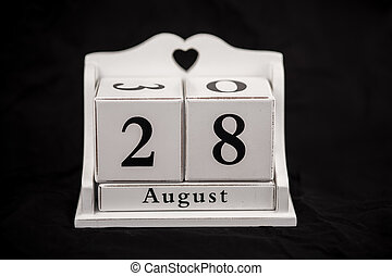 Calendar cubes August, twenty-eighth, 28, 28th