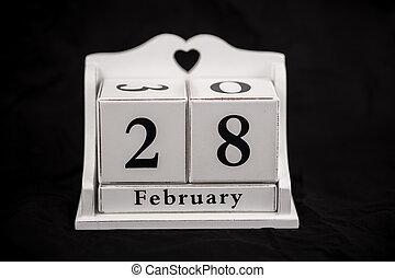 Calendar cubes February, twenty-eighth, 28, 28th