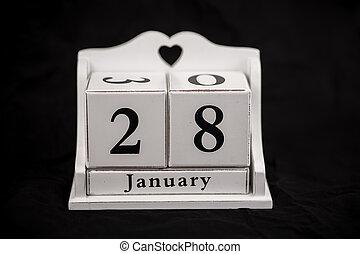 Calendar cubes January, twenty-eighth, 28, 28th