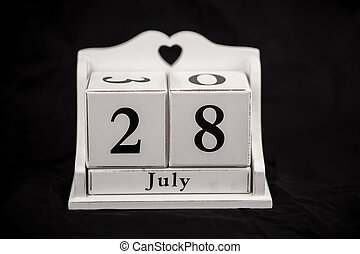 Calendar cubes July, twenty-eighth, 28, 28th