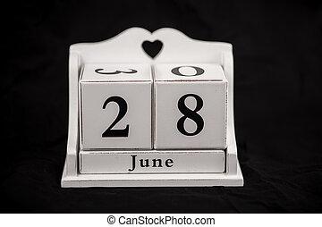 Calendar cubes June, twenty-eighth, 28, 28th