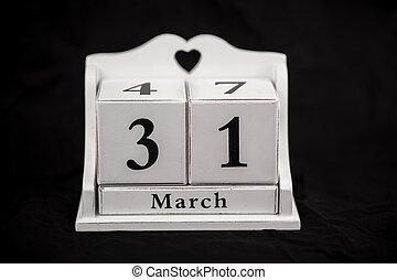 Calendar cubes March, thirty first, 31, 31st - Calendar...