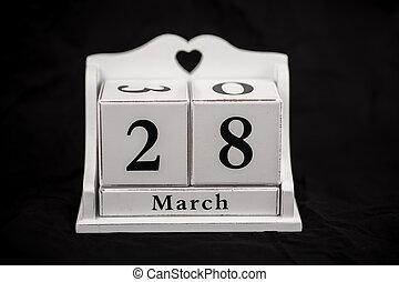 Calendar cubes March, twenty-eighth, 28, 28th