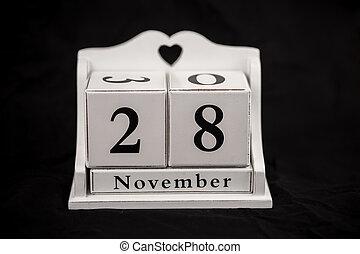 Calendar cubes november, twenty-eighth, 28, 28th