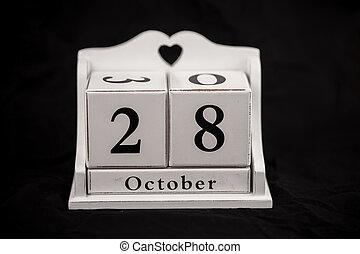 Calendar cubes October, twenty-eighth, 28, 28th