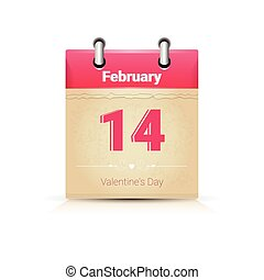 Calendar Data Page Saint Valentine Day 14 February Flat...