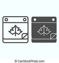 Calendar date line and solid icon. Maple leaf on pocketbook page with bent corner. Autumn season vector design concept, outline style pictogram on white background, use for web and app. Eps 10.