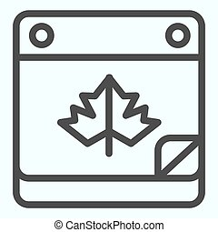 Calendar date line icon. Maple leaf on pocketbook page with bent corner. Autumn season vector design concept, outline style pictogram on white background, use for web and app. Eps 10.