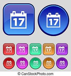 Calendar, Date or event reminder icon sign. A set of twelve vintage buttons for your design.