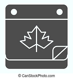 Calendar date solid icon. Maple leaf on pocketbook page with bent corner. Autumn season vector design concept, glyph style pictogram on white background, use for web and app. Eps 10.