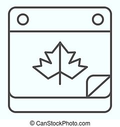 Calendar date thin line icon. Maple leaf on pocketbook page with bent corner. Autumn season vector design concept, outline style pictogram on white background, use for web and app. Eps 10.