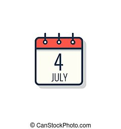 Calendar day icon isolated on white background. July 4.