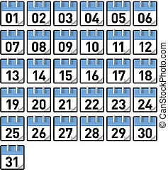 Calendar days - Small generic calendars for all 31 days of a...