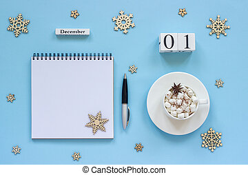 calendar December 1 cup cocoa and marshmallow, empty open notepad