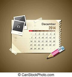 Calendar December 2014, vintage paper note, vector...