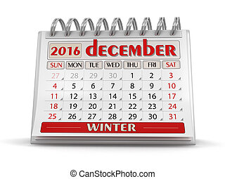 Calendar -  december 2016 (clipping path included)