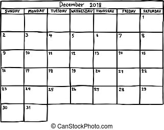 calendar December 2018 - vector illustration sketch hand drawn with black lines, isolated on white background