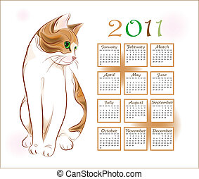 calendar design 2011 with  ginger tabby cat