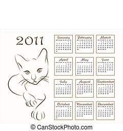 calendar design 2011 with outline cat