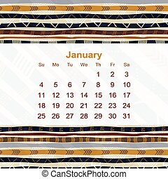Calendar designed in the style of Tribal. 2015. January. Ethno.