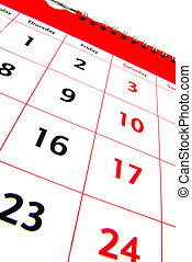 Calendar detail 2 - Detail view of a typical white calendar....