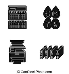 Calendar, drops of paint, cartridge, multifunction printer. Typography set collection icons in black style raster, bitmap symbol stock illustration web.