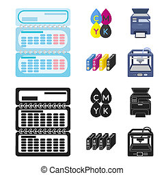 Calendar, drops of paint, cartridge, multifunction printer. Typography set collection icons in cartoon, black style bitmap symbol stock illustration web.